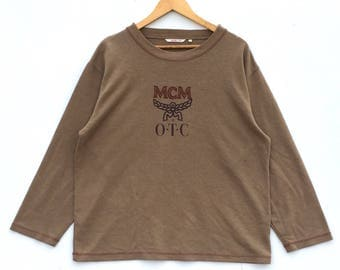 Rare!!! Vintage MCM O.T.C Sweatshirt Mode Creation Munchen Big Logo Spell Out Embroidery Pullover Jumper Sweater Crew Neck Size L