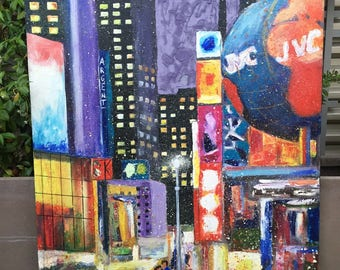"Oil on canvas ""New York times square"""