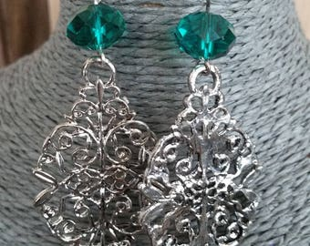 Print earrings in shimmering colours and Emerald faceted glass bead
