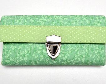Lady purse, wallet, vegan, fabric purse, green