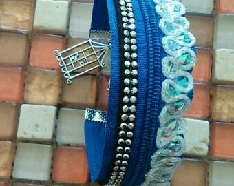 Blue bracelet made with a zipper
