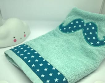Towel bath /, pool or beach for boy or baby with mustache green Emerald with little stars