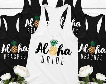 Pineapple Bachelorette Party Shirts (8) | Aloha Beaches, Aloha Bride Tank Top Bride & Bridesmaid Tank Tops Set of 8