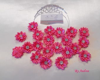 Small applique fabric flowers in pink satin with Rhinestones.