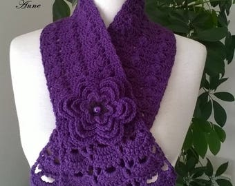 Purple, adorned with a flower scarf brooch!