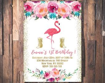 Let's flamingle birthday invitation, Flamingo birthday invitation, Girl first birthday party invitation, First birthday invitation 1036