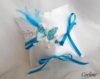 Wedding ring pillow wedding White Satin tie ribbons flowers Turquoise feathers Original Turquoise and white