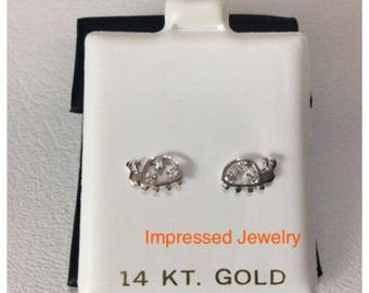 14K White Real Gold Round Cubic CZ Lady Bugs Screwback Stud safe children Earring