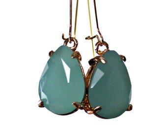 Aqua Drop Earrings, Nickel Free