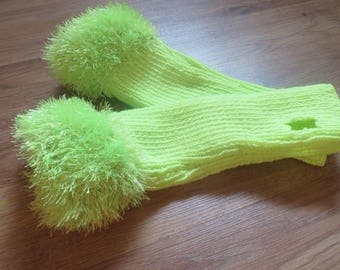 Mitts, knitted with neon yellow/green color