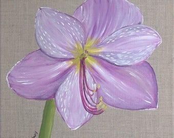 "Painting on linen flower ""Amaryllis"""