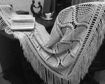Hand crochet Shawl, Triangle Shawl, Fringe Shawl, Scarf