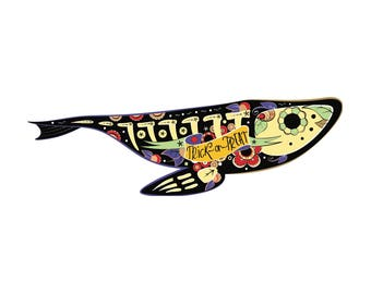 Colorfull fish skeleton with floral