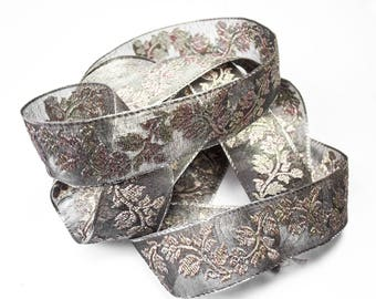 Silver embroidered 4.5 cm x 1 m gray Ribbon