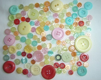 SET OF 140 MULTICOLORED FANCY BUTTONS ALL SIZES