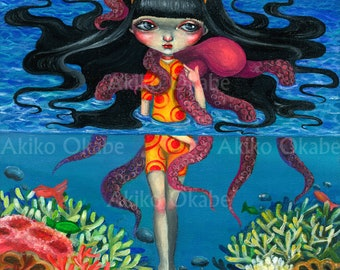 Sea girl Print Illustration A4 B4 size