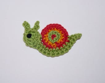 Red/Green snail - crochet applique