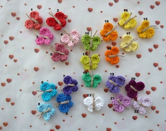 3 little butterflies crocheted in cotton - choice of color