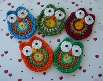 OWL, OWL handmade crochet, crochet applique