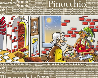 Pinocchio, Illustration, Decoration, Gift Idea, Animals, Kids Room, Poster, Digital Printable Art