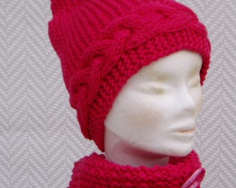 """Set Hat + scarf pink snood wool €56 instead of €66 """"Hibiscus"""" woolen knitted by hand"""
