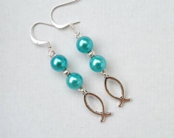 Earrings with silver charm beads and fish color round blue turquoise and silver