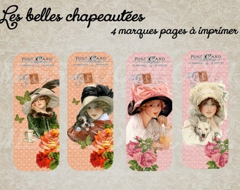 """4 bookmarks to print """"beautiful chapeautees"""" send by mail"""