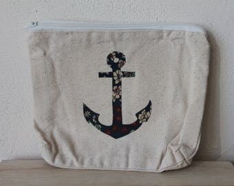 Small bag 100% cotton unbleached anchor liberty blue
