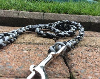 Handmade Paracord Dog Lead/Leash - Black, Olive Green and Grey - 4 ft