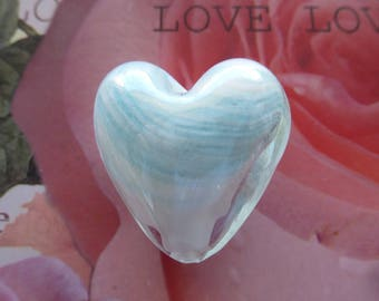 heart 27 mm Murano glass bead in sky blue mother of pearl jewelry, hobby, crafts and craft creations