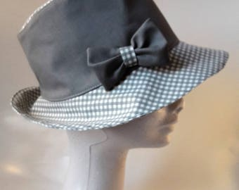 grey fedora and plaid hat