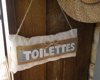 """Rectangular pillow fabric and wood """"Toilet"""""""