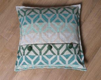 Square cushion fabric geometric patterns, and Green Velvet