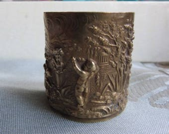 Antique stamped brass cherubs strapping * 4.2 cm *.