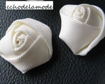 supplies for wedding accessories, CEREMONIES, 1 fabric flower ivory grosgrain Ribbon