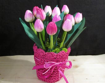 Jar of candy pink tulips wooden
