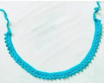 Blue crochet choker