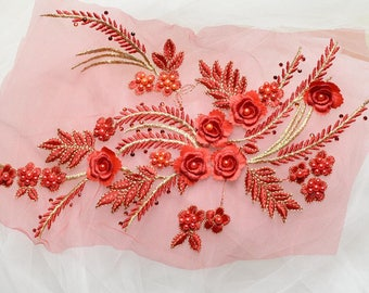 Blush red Beaded Lace Applique Pair for Lyrical Dance, White Swan, Bridal, Headbands, Sashes, Costume Design,sewing supplies