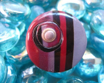 Fancy Red/Plum polymer clay ring