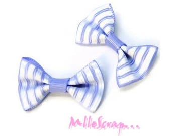 Set of 5 purple embellishment scrapbooking carterie.* striped bows