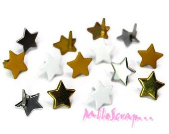 Set of 12 stars 13 mm embellishment scrapbooking brads *.