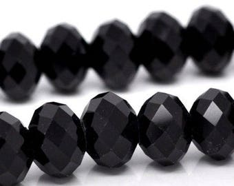 8 black Crystal beads, 12 mm, faceted, round