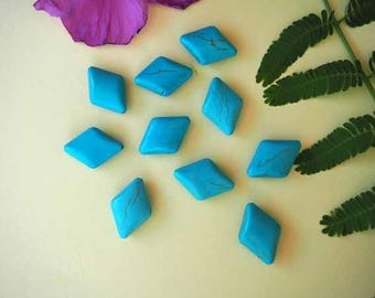 Set of 10 turquoise reconstituted stone beads, losange27x20mm