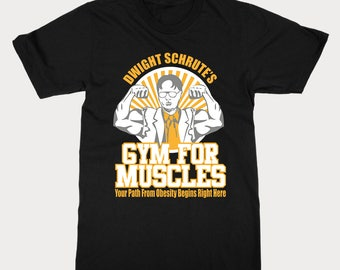 US Office TV Show T-Shirt - Dwights Gym For Muscles - Funny Dwight Schrute Tee - Hilarious Office TV Show Dunder Mifflin Tee Shirt Gift