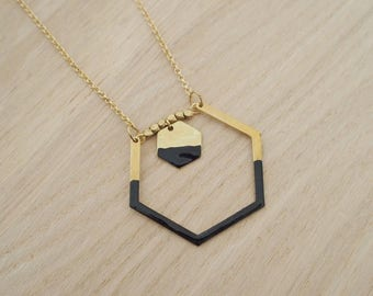 Hexagon black - enameled jewelry - jewelry necklace lining