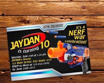 Nerf Gun Invitation,Nerf Gun Birthday,Nerf Gun Birthday Invitation,Nerf Gun Party,Nerf Gun Birthday Party,Nerf Gun Printable-520