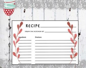 Recipe Card Printable, Printable Recipe Card, DIY Recipe Cards, 4x6 Recipe Card, Bridal Shower Recipe Card, PDF Instant Download