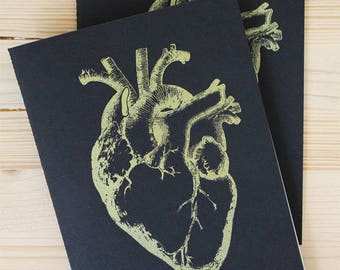 Notebook anatomical heart gold and black