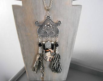 geisha Japanese style silver white black gingham set