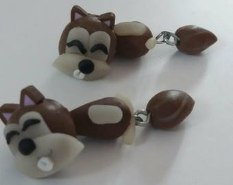 """Earrings """"Squirrel"""" funny""""in Fimo"""